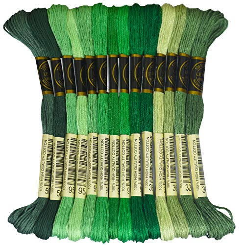 Premium Rainbow Color Embroidery Floss - Cross Stitch Threads - Friendship Bracelets Floss - Crafts Floss - 14 Skeins Per Pack Embroidery Floss, Pistachio Green Gradient