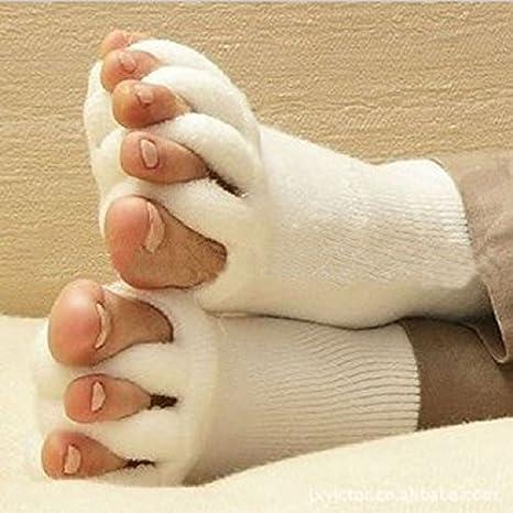Malloom® nuevo dedos del pie alineación hombres mujeres calcetines de algodón tendón de estiramiento aliviar el dolor calcetines: Amazon.es: Deportes y aire ...