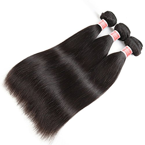 Pizazz 8A Brazilian Straight Hair 16 18 20 and 14 inch Lace Frontal Closure with Bundles Natural Black Straight Human Hair Weave 3 Bundles With Closure by Pizazz (Image #2)