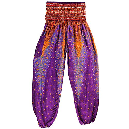 UONQD 2019d Men Women Yoga Pants Thai Harem Trousers Boho Hippy Smock High Waist (Free Size,Purple) ()