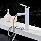 AWXJX Copper Bath Wash Your Face White Paint Pull Out Rotate Sink Mixer Taps
