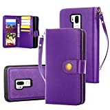 LG G7 Case, LG G7 ThinQ Case, 10 Card Slot - ID Slot, Button Wallet Folio PU Leather Case Cover with Detachable Magnetic Hard Case - Purple