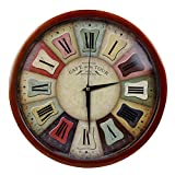 Elios 12' Round Vintage Wall Clock with Glass for Home / Kitchen / Living Room / Bedroom (Silent Non Ticking Movement) (Paris) (Multicolor)