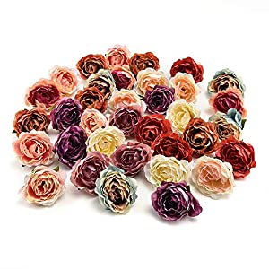 Flower heads in bulk wholesale for Crafts Carnation Silk Peony Artificial Rose Flower Heads European Wedding Decoration DIY Accessories Fake Flowers Party Birthday Home Decor 30pcs 4CM 3
