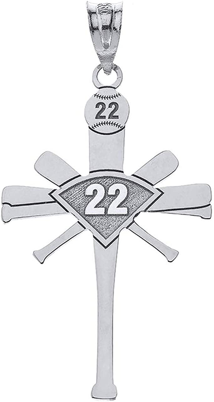 BASEBALL CUSTOMIZED CROSS NECKLACE WITH YOUR NUMBER-CUSTOMIZED BASEBALL NECKLACE