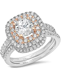 2.2 Ct Round Cut Pave Double Halo Engagement Wedding Bridal Anniversary Ring Band Set 14K Multi Gold, Clara Pucci