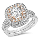 Clara Pucci 1.9 CT Round Cut Pave Double Halo Bridal Engagement Wedding Ring band set 14k White Rose Gold