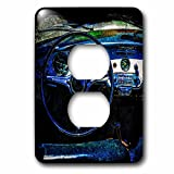 3dRose Alexis Photography - Transport Road - Steering wheel, dashboard of a vintage luxury car. Textured photo - Light Switch Covers - 2 plug outlet cover (lsp_271957_6)
