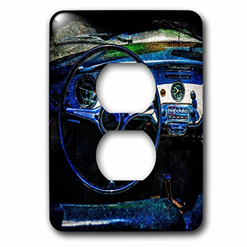 3dRose Alexis Photography - Transport Road - Steering wheel, dashboard of a vintage luxury car. Textured photo - Light Switch Covers - 2 plug outlet cover (lsp_271957_6) by 3dRose