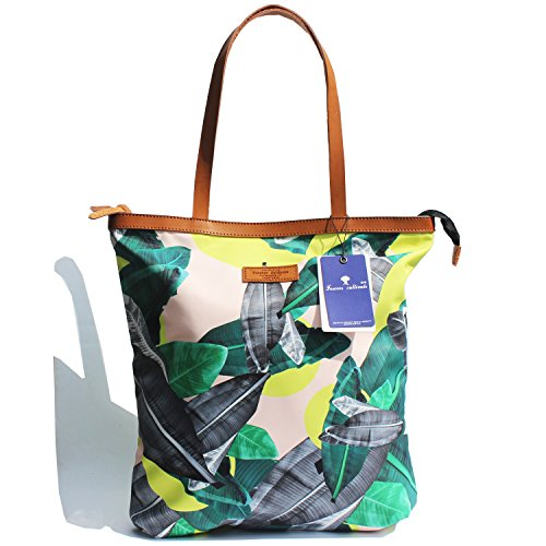 Floral Beach Bag (Women Fashion Large Tote Shoulder Handbag Original Floral Leaf Water Resistance Nylon Lightweight Tote Bag (Black - Green))