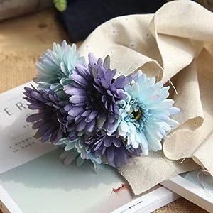 FidgetGear 1 Bouquet 7 Heads Artificial Silk Daisy Gerbera Flowers Wedding Party Decoration Blue 47
