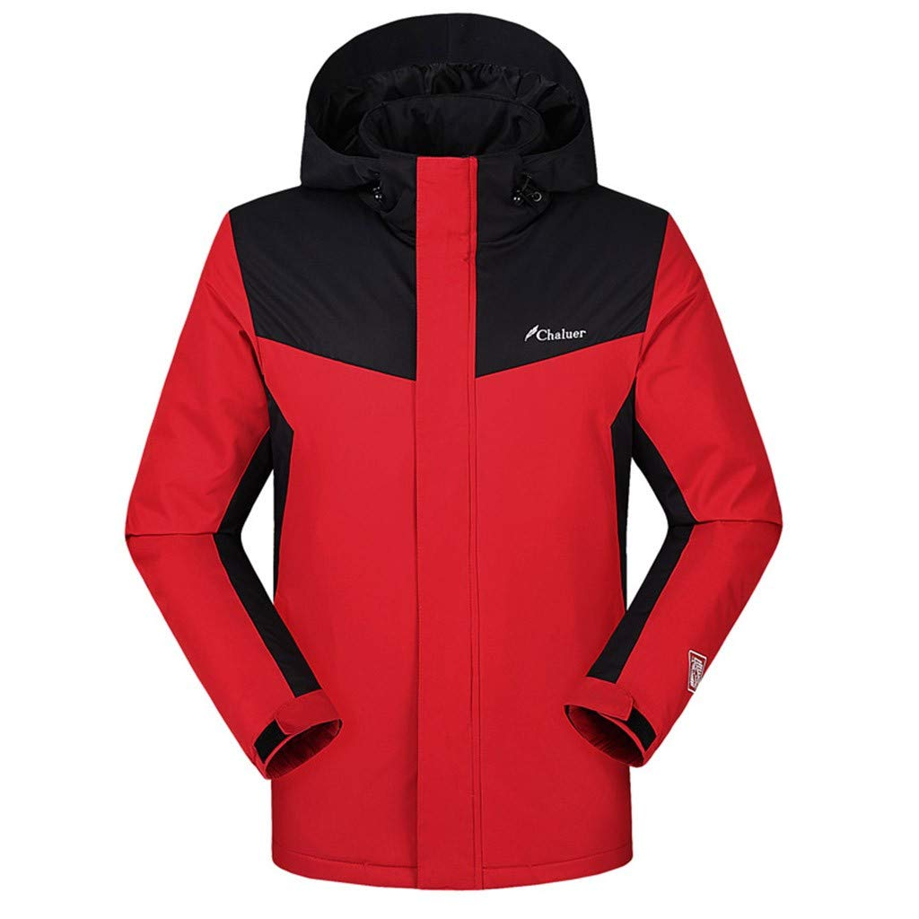 Men's Soft Shell Heated Jacket Smart USB Electric Warm Down Charge Hoodie Coat (XL, Red) by Moxiu Men's Coat