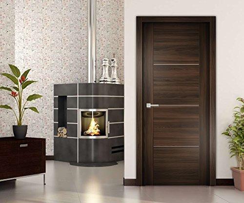 Ash Wood Stripe (Sarto Quadro 7213 Interior Flush Solid Wood Modern Stripes Slab Door can be used as Pocket Barn Closet Double (24