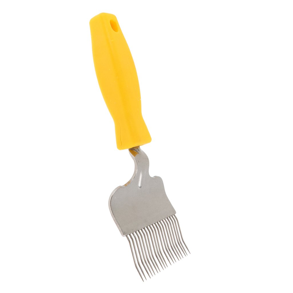 Homyl 8.3-Inch Stainless Steel Tine Uncapping Fork Scratcher Bee Keeping Beekeeping Honey Comb -Yellow