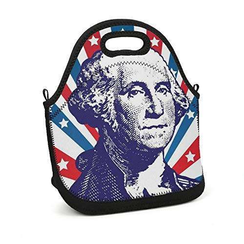 uter ewjrt Insulated Spacious Interior Presidents'-Day-Washington-Washington-Portrait- Storage Lunch Box Toto Mom Bag for School Work Outside Picnic