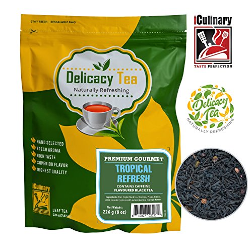 "ade All Natural Loose Leaf ""Tropical Refresh"" Ceylon Black Tea Blended with Plum, Hibiscus and Strawberries and Rosehips, Makes 100 Cups of Delicious Tea from iCulinary, 8 Ounces ()"