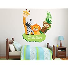 """Personalized Name Animals Branch Wall Decal - Baby Boy Girl Unisex Decoration - Mural Wall Decal Sticker For Home Interior Decoration Car Laptop (AM) (Wide 30"""" x 33"""" Height)"""