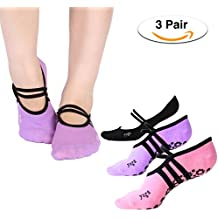 Philonext Yoga Socks, Non Slip Skid Yoga Pilates Socks with Grips Cotton for Women Girl Pilates, Fitness, Barre, Dance