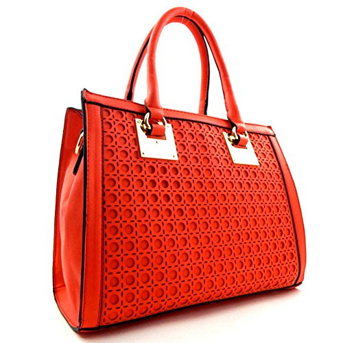 Laser-cut Hardware Accent 2 Way Satchel Coral 80660_cr