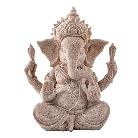 MagiDeal Hue Sandstone Ganesha Buddha Elephant Statue Sculpture Handmade Figurine