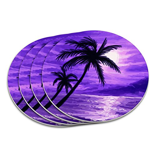 - Sunset Beach Palm Tree Hawaii Paradise Purple Coaster Set