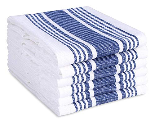 Cotton Clinic Farmhouse Stripe Kitchen Dish Towels Set of 6 Extra Large 18x28, Dish Cloths, Bar Towels, Tea Towels and Cleaning Towels, Kitchen Towels with Hanging Loop, Navy White
