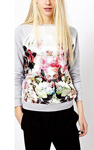 Sweatshirt Damen Blusen Herbst Winter T-Shirts Langarm Rundkragen Rosenmuster Tops Oberteil Hemd Grundiert Trainingsanzüge