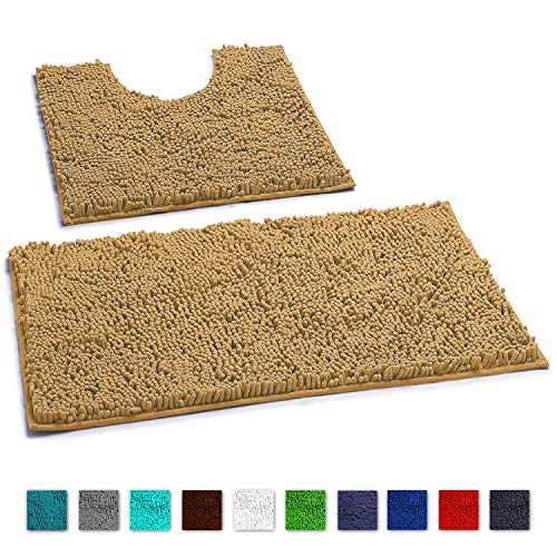 Bathroom Rugs Luxury Chenille 2 Piece Mats, Soft Plush Shower Rug + Toilet Mat. 1'' Microfiber Shaggy Carpet, Super Absorbent mats, Machine Wash & Dry,(Curved Set, Beige)