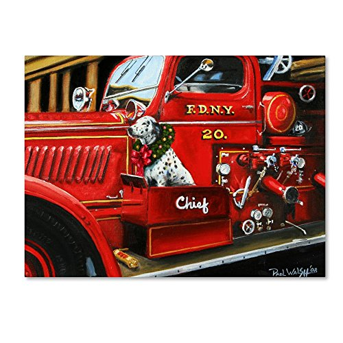 Dalmatian Christmas Firetruck by Paul Walsh, 18x24-Inch Canvas Wall Art