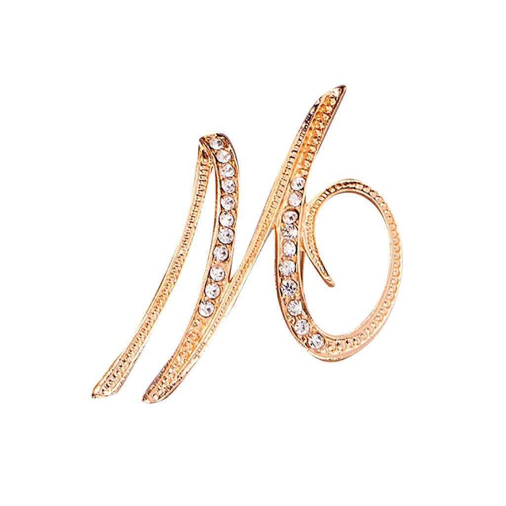 MSOO 1PC Crystal 26 English Letters Brooch Pin Couple Memorial Jewelry Love Gifts (M)
