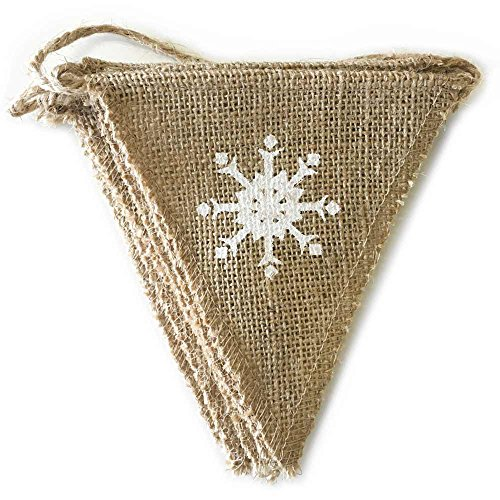 dealzEpic Rustic Burlap Winter/Christmas Pennant Banner Garland with Snowflake Printing | Jute Buntings for Outdoor Garden and Yard Decorations - 8 pcs Triangle Banners