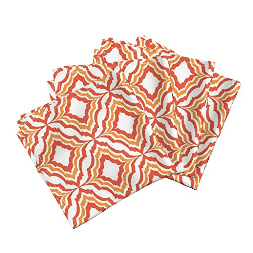 Tessellated Patterns - Roostery Moroccan Ogee Pattern Geometric Shape Orange and White Palette Limited Tessellated Fragmentation Organic Sateen Dinner Napkins Moroccan Ogee Coral by Kirstenkatz Set of 4 Dinner Napkins