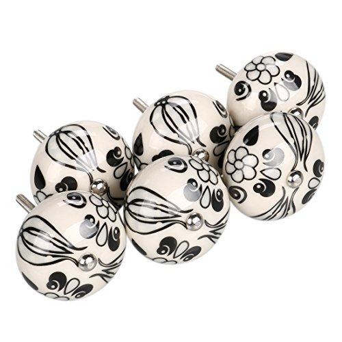uxcell 6 Pieces Vintage Shabby Knobs Black and White Floral Hand Painted Ceramic Pumpkin Cupboard Wardrobe Cabinet Drawer Door Handles Pulls Knob, Black ()