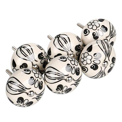 - uxcell 6 Pieces Vintage Shabby Knobs Black and White Floral Hand Painted Ceramic Pumpkin Cupboard Wardrobe Cabinet Drawer Door Handles Pulls Knob, Black Tillandsia