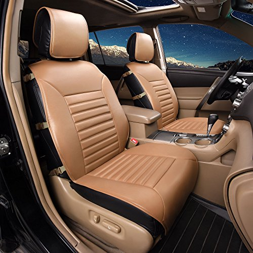 FH Group PU206102 Multifunctional Quilted Leather Seat Cushions Pair Set, Tan Color- Fit Most Car, Truck, SUV, or Van