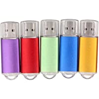 SunData 5pcs 16GB USB 2.0 Flash Drive Flash Memory Stick 5pcs 16GB, Five Colors ( Purple Red Green Blue Gold )