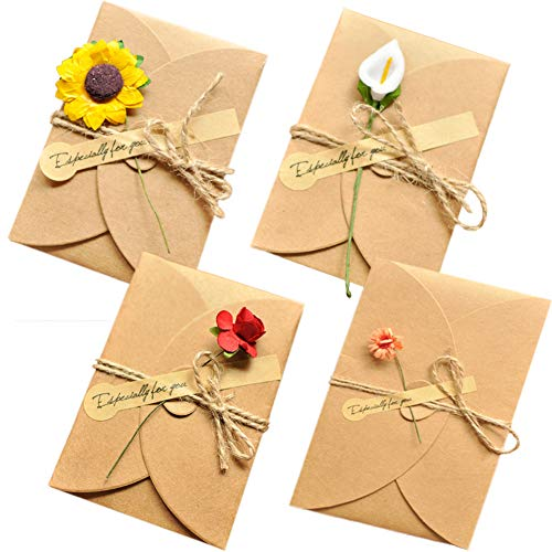 Handmade Greeting Cards DIY Invitation Envelopes Thank You Flower Postcard 12 Pack