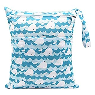 AXINWELL Cloth Diaper Wet Dry Bag, Waterproof Washable Reusable for Travel, Beach Essentials, Pool, Swimsuit, Clothes, Accessories with 2 Zippered Pockets…