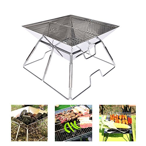 BBQ Portable Charcoal Grill, FAMELEY Compact Camping Stove Made From Stainless Steel Great for Camping, Picnics, Backpacking, Backyards, Survival, Emergency Preparation (Medium) (Cooks Club Canister)