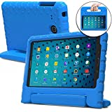 Samsung Galaxy Tab E Lite 7.0 case for kids, fits Tab 3 Lite 7.0 [SHOCK PROOF KIDS TAB LITE CASE] COOPER DYNAMO Kidproof Child Tab Lite 7 inch Cover for Boys, School | Kid Friendly Handle Stand (Blue)