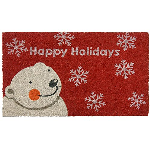 Rubber-Cal Happy Holidays Doormats Christmas Mats, 18 x 30-Inch (Mat Coir Christmas Door)
