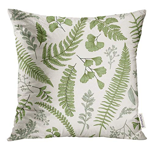 Golee Throw Pillow Cover Green Leaf Floral in Vintage Style Leaves and Herbs Botanical Boxwood Seeded Eucalyptus Fern Maidenhair Decorative Pillow Case Home Decor Square 20x20 Inches Pillowcase ()