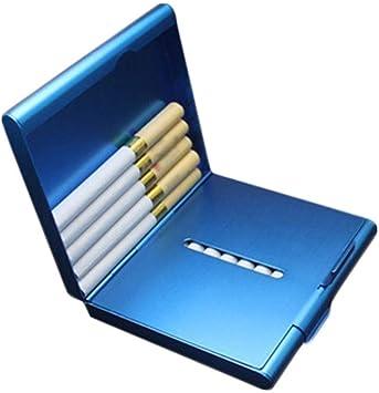 KPPTO Estuche de cigarrillos, 20 paquetes de estuche portátil de metal delgado doble abierto, sostenedor de cigarrillos de acero inoxidable for enviar caja de cigarrillos antipresión de plomo de padre: Amazon.es: Salud