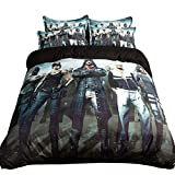 FJLOVE Bedding PLAYERUNKNOWN'S BATTLEGROUNDS Pattern 3Pcs(1 Duvet Cover+ 2 Pillowcases) Cotton PUBG Duvet Cover Set,C,King