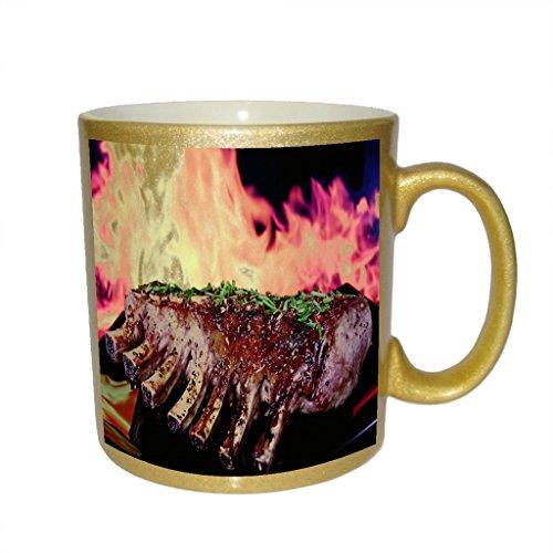 (Grilled Ribs Juicy Lamb Metallic Gold Sparkle Coffee Mug)