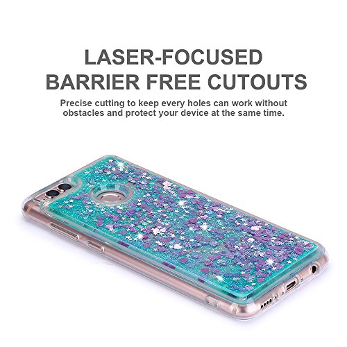 Funda Huawei Honor 7X, Caselover 3D Bling Silicona TPU Arena Movediza Lentejuelas Carcasa para Honor 7X Glitter Líquido Brillar Cristal Sparkle Protección Caso Suave Transparente Claro Bumper Case Cov Verde claro