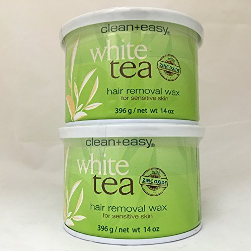Clean+Easy White Tea Hair Removal Wax For Sensitive Skin 2 Pack, With Zinc Oxide by Clean & Easy