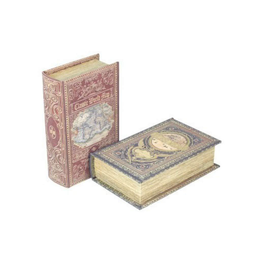 CAPRILO Set de 2 Cajas Libro Decorativas de Madera Mundo Clasico. Cajas Multiusos. Joyeros. Regalos Originales. Decoración Hogar. 5 x 17 x 11 cm.