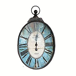 Wall Clock Wrought Iron Oval Industrial Wind American Style Village Vintage Pastoral Living Room Clock(Blue,22.037.42.0 in) LF