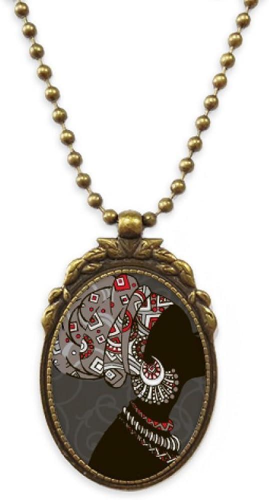 DIYthinker African Black Women Aboriginal Headdress Antique Necklace Vintage Bead Pendant Keychain